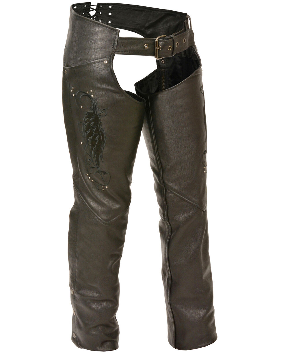 Milwaukee Leather Women's Embroidered Wing & Rivet Leather Chaps, Black, hi-res
