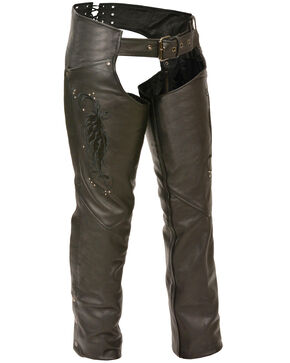 Milwaukee Leather Women's Embroidered Wing & Rivet Leather Chaps - 4X, Black, hi-res