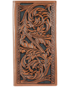 HOOey Men's Floral Tooled Rodeo Wallet, No Color, hi-res
