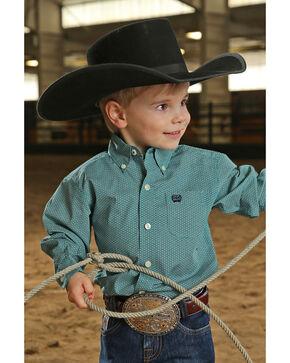 Cinch Toddler Boys' Tea Geo Print Long Sleeve Western Shirt , Teal, hi-res