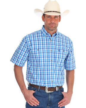 Wrangler Men's Blue George Strait Plaid Shirt , Blue, hi-res