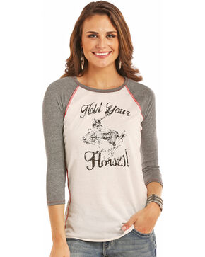 Rock & Roll Cowgirl Hold Your Horses Baseball Tee, White, hi-res