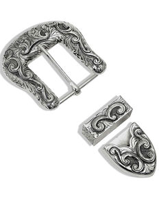 Montana Silversmiths Women's Antiqued Scroll Buckle Set, Silver, hi-res