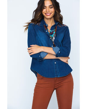 Grace in LA Embroidered Denim Shirt , Indigo, hi-res