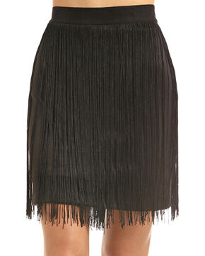 Rock & Roll Cowgirl Women's Black Fringe Trim Skirt, Black, hi-res