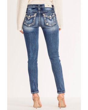 Miss Me Women's Basic Flap Embroidered Border Skinny Jeans , Blue, hi-res