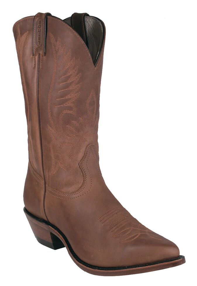 Boulet Men's Fancy Stitched Western Boots - Pointed Toe, Golden Tan, hi-res