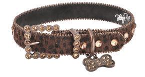 Blazin Roxx Leopard Print Dog Collar - M-L, Brown, hi-res