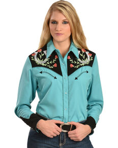 Scully Horseshoe Embroidered Retro Western Shirt, Turquoise, hi-res