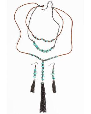 Shyanne Women's Patina Crescent Tassel Beaded Necklace Set, Turquoise, hi-res