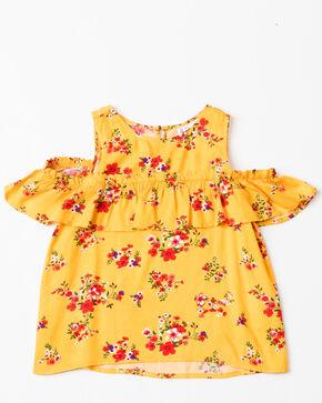 Shyanne Girls' Floral Printed Cold Shoulder Short Sleeve Ruffle Top , Gold, hi-res