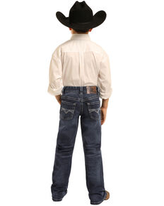 Rock & Roll Cowboy Boys' Dark Reflex Stretch Bootcut Jeans , Blue, hi-res
