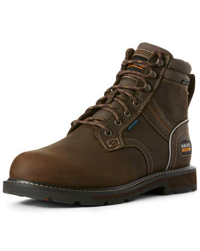 Ariat Men's Groundbreaker Waterproof Work Boots - Steel Toe, Brown, hi-res