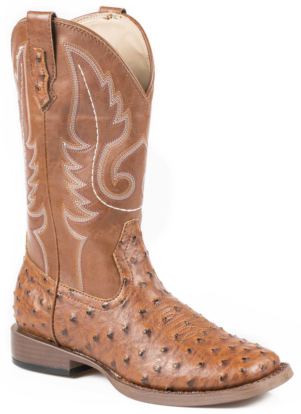 Roper Youth Boys' Ostrich Print Cowboy Boots - Square Toe, Tan, hi-res