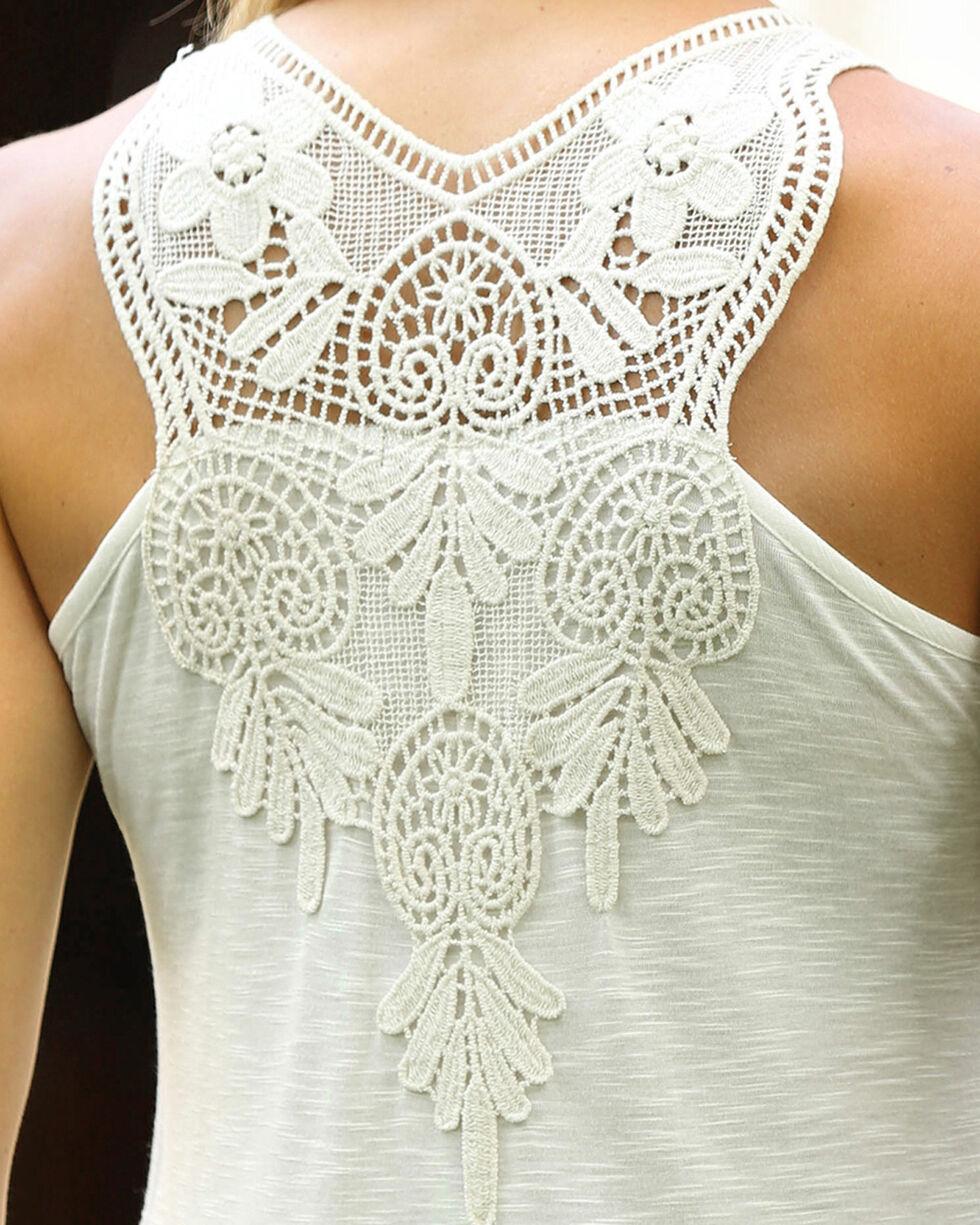 Wrangler Women's White Sleeveless Crochet Trim Tank, Cream, hi-res