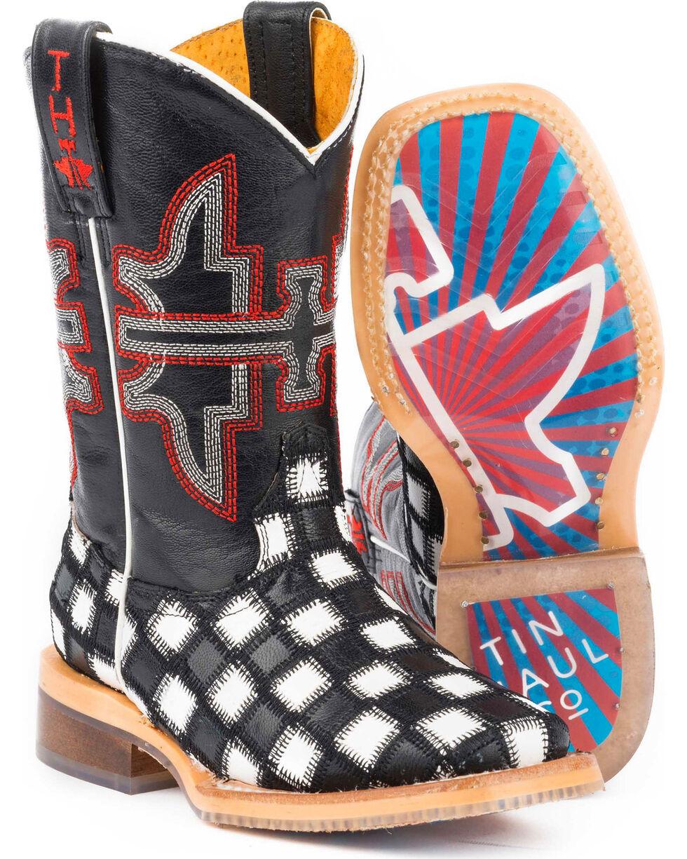 Tin Haul Boys' Checkmate Star Sole Cowboy Boots - Square Toe, Black, hi-res