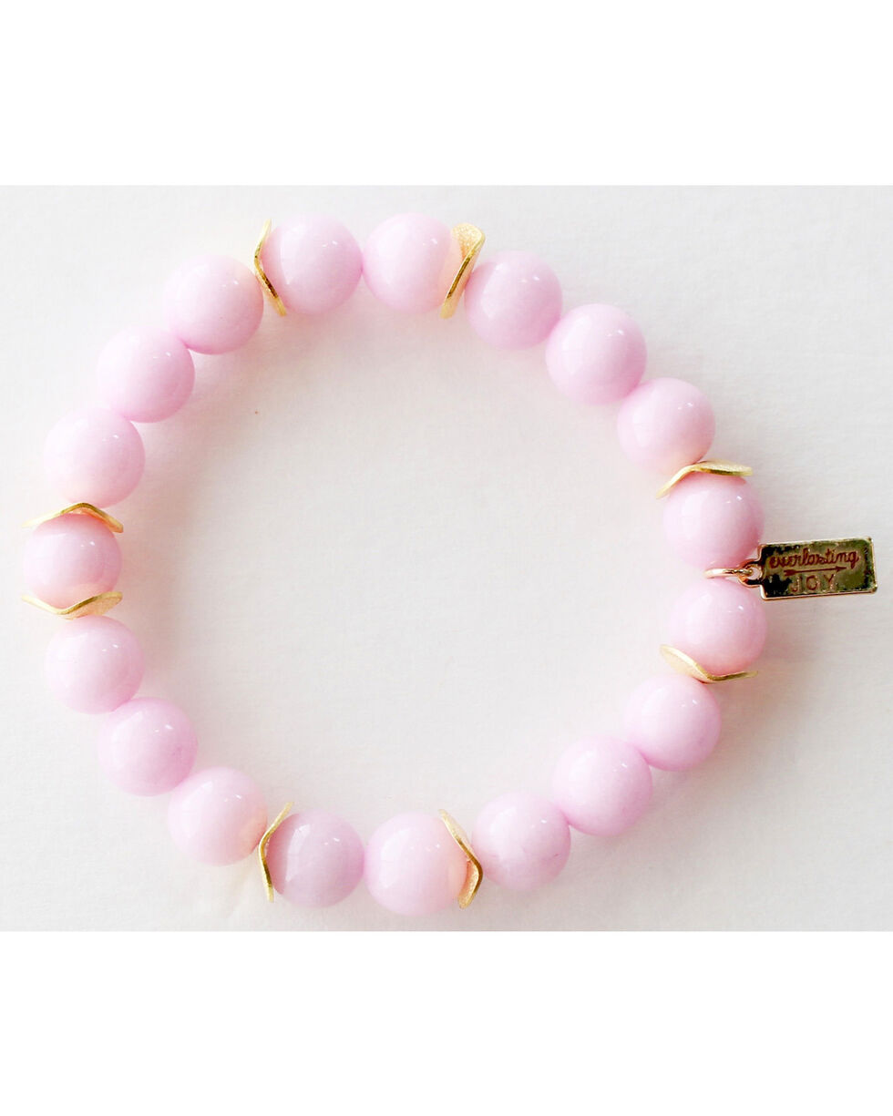 Everlasting Joy Jewelry Women's Bubblegum Pink Gold Chip Bracelet , Light Pink, hi-res