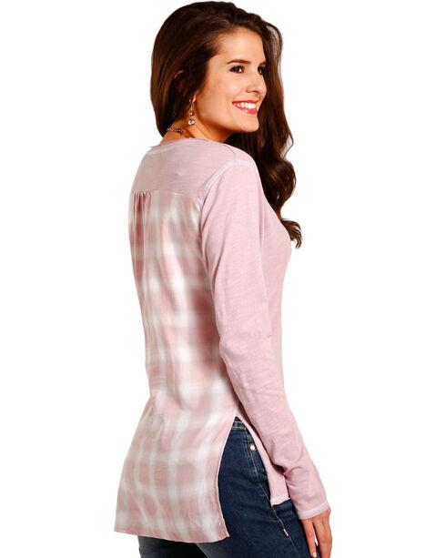 Panhandle Women's Pink Plaid Back Tunic , Pink, hi-res
