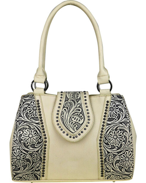 Trinity Ranch Women's Tooled Leather Concealed Carry Satchel , , hi-res