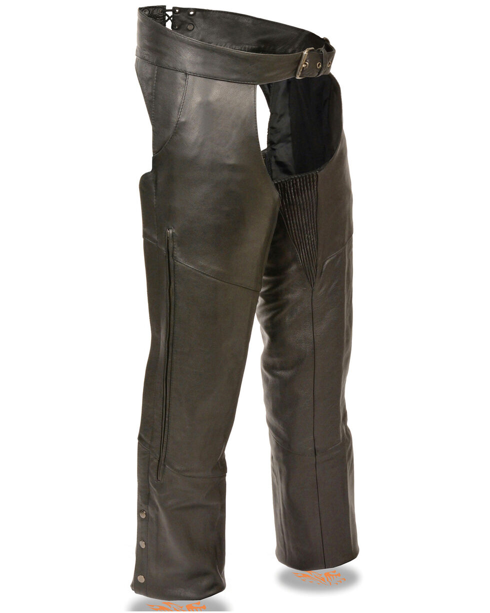 Milwaukee Leather Men's Stretch Thigh Vented Chaps - 3XL, Black, hi-res