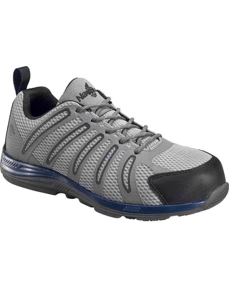 Nautilus Men's Grey and Black Metal Free Wedge Sole Work Shoes - Comp Toe , Blue, hi-res