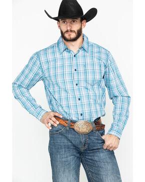 Gibson Men's Hogwash Medium Plaid Long Sleeve Western Shirt , Turquoise, hi-res