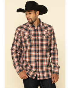 Cody James Men's Spruce Plaid Long Sleeve Western Flannel Shirt - Big , Black/red, hi-res