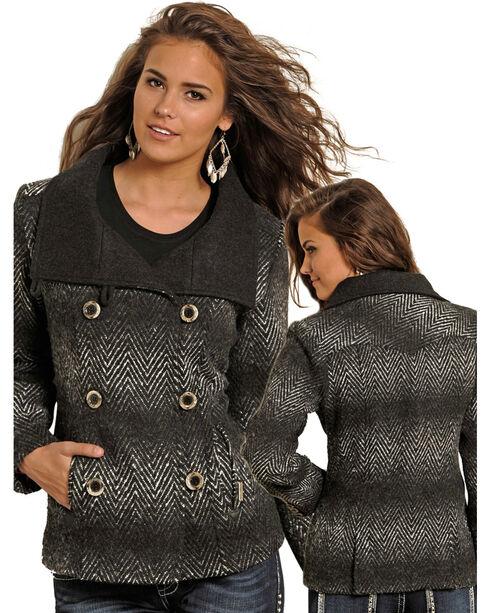 Powder River Women's Aztec Wool Double Breasted Coat, Black, hi-res