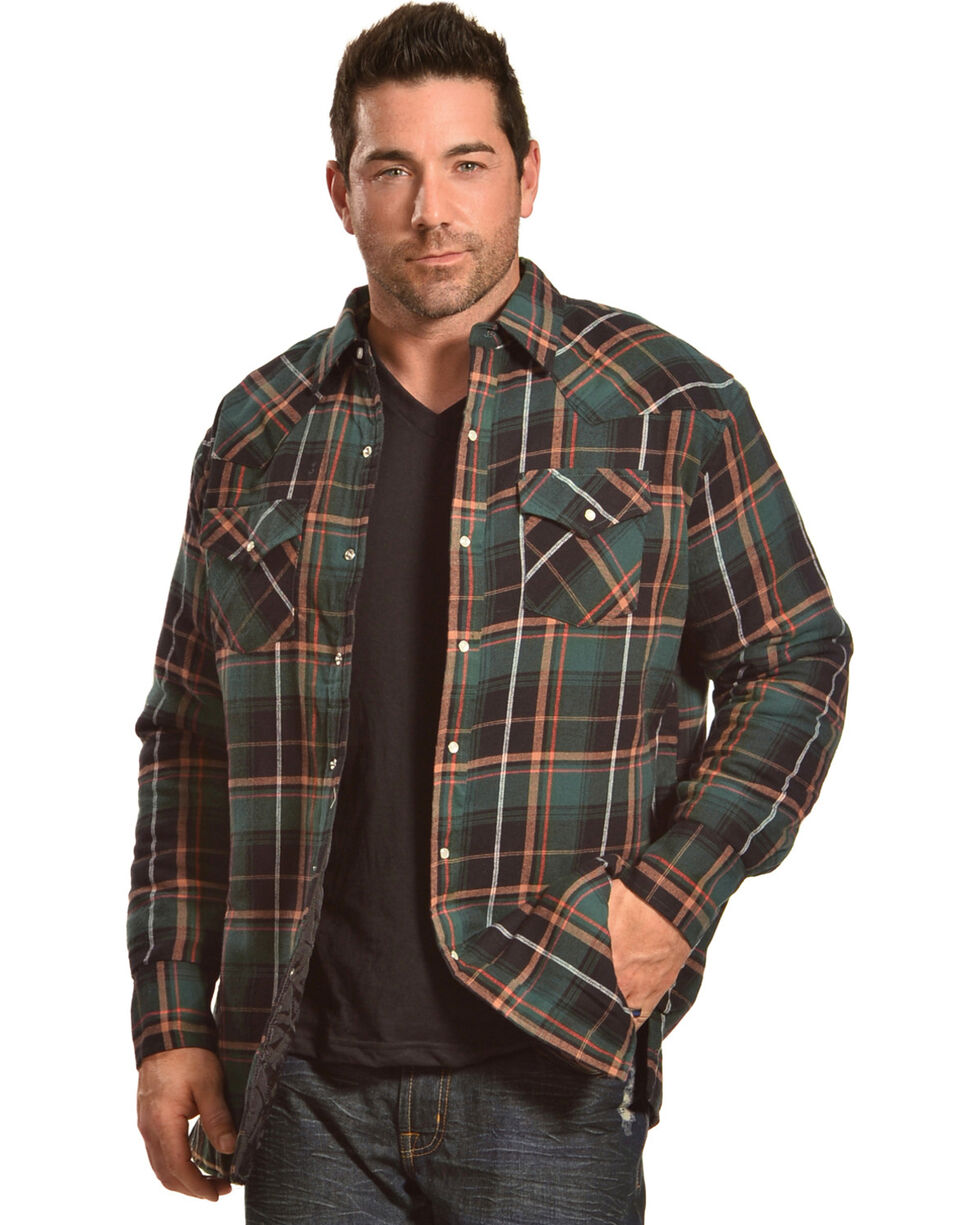 Ely Cattleman Men's Green Quilted Flannel Jacket, Green, hi-res