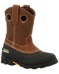 Georgia Boot Boys' Muddog Big Kid Outdoor Boots - Soft Toe, Black/brown, hi-res