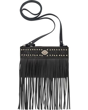 Shyanne Women's Black Fringe Crossbody Bag, Black, hi-res