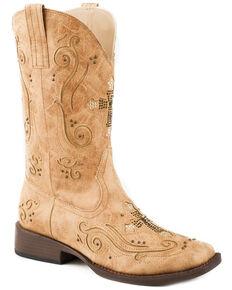 Roper Women's Tan Faith Cross Inlay Boots - Square Toe , Tan, hi-res