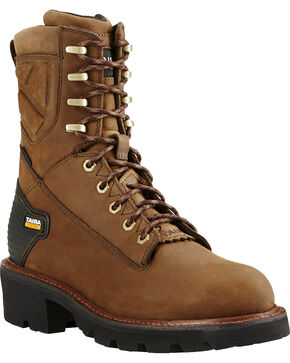 "Ariat Men's Brown Powerline H20 8"" 400g Work Boots - Soft Toe, Brown, hi-res"