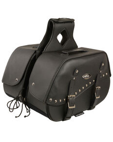 Milwaukee Leather Zip-Off Two Buckle Extended Lid Studded Throw Over Saddle Bag, Black, hi-res