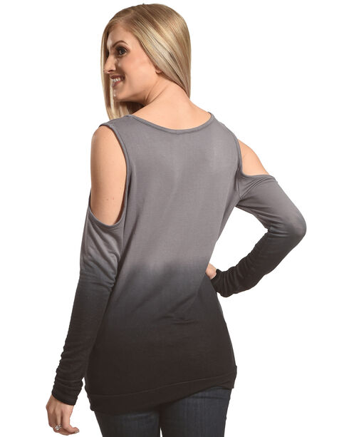 Rock & Roll Cowgirl Women's Dip Dye Cold Shoulder Long Sleeve Top, Black, hi-res
