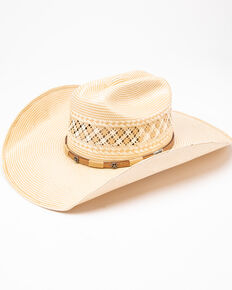 Larry Mahan 10X Wyatt Band Straw Cowboy Hat , Ivory, hi-res