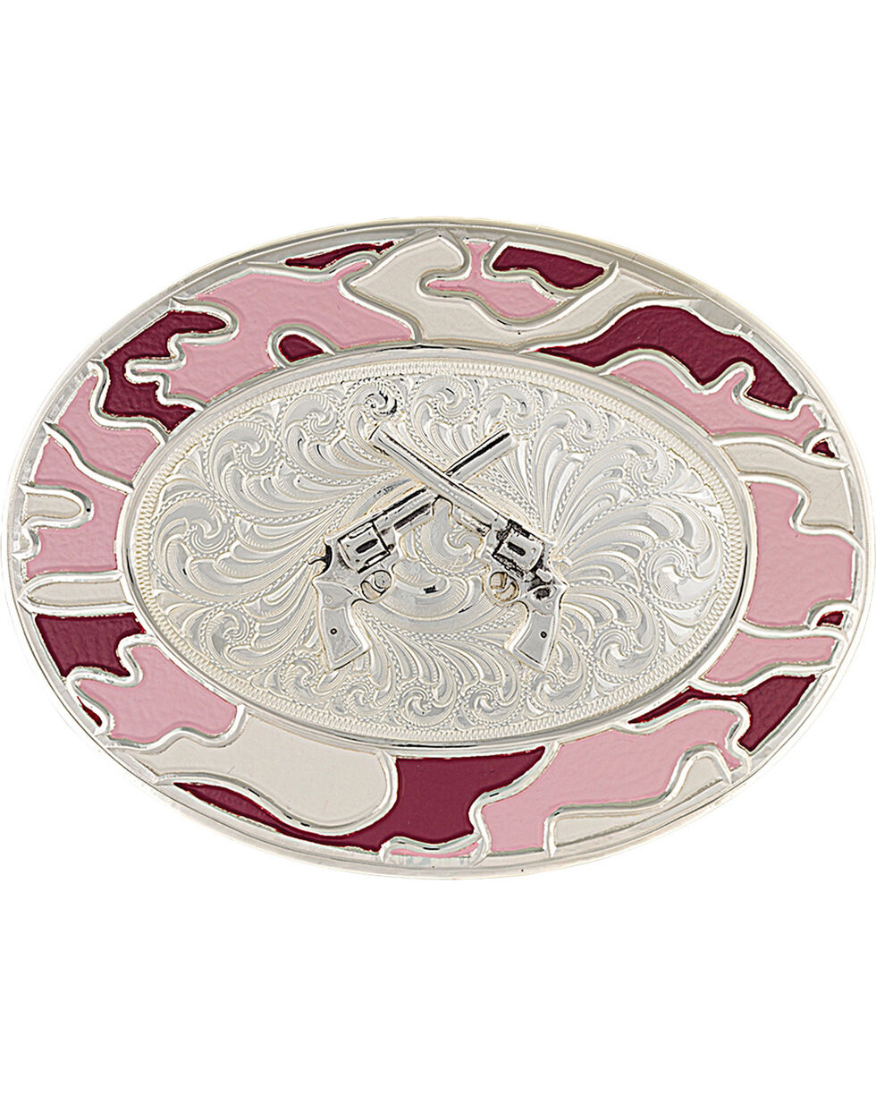 Montana Silversmiths Silver-Tone Pink Camo Crossed Pistols Belt Buckle, Silver, hi-res