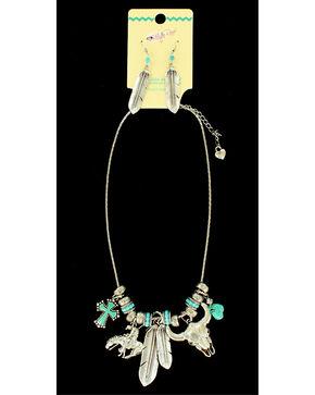 Blazin Roxx Feather Charm Necklace & Earrings Set, Silver, hi-res