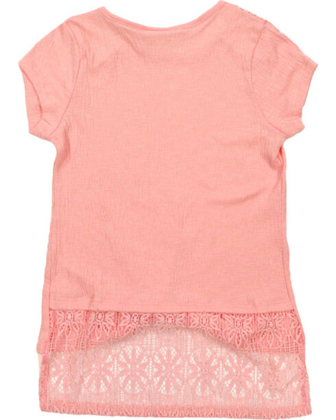Self Esteem Girls' Lace Trim Top and Scarf Set, Pink, hi-res