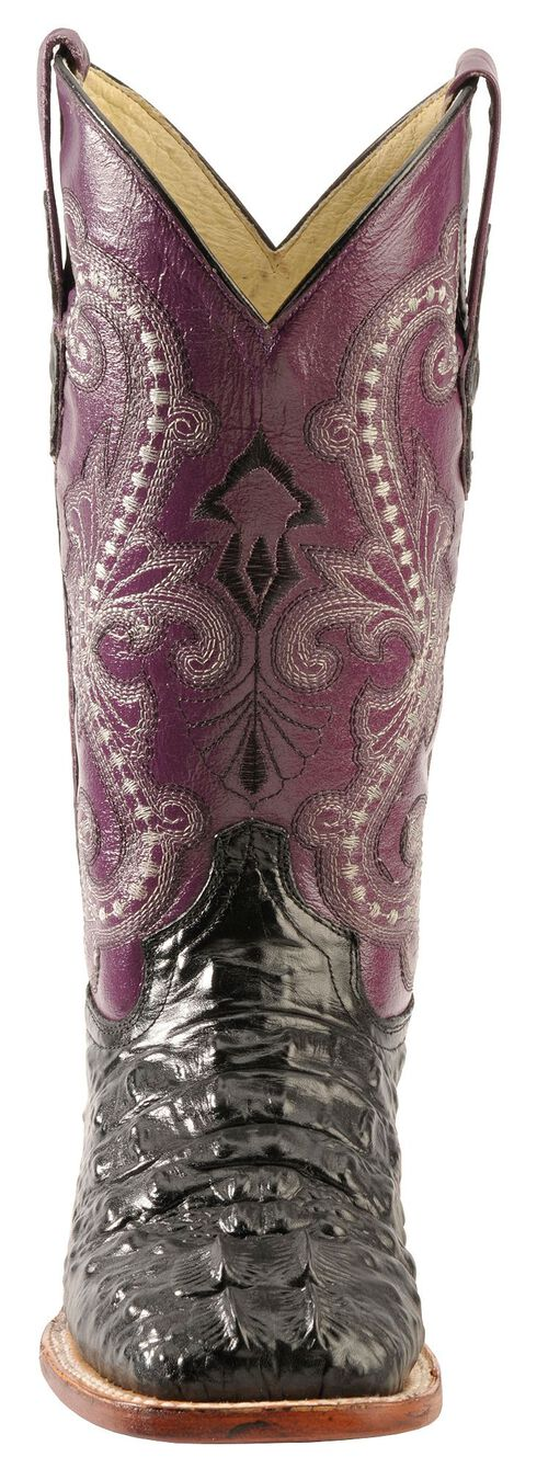 Ferrini Hornback Caiman Print Cowgirl Boots - Wide Square Toe, Black, hi-res
