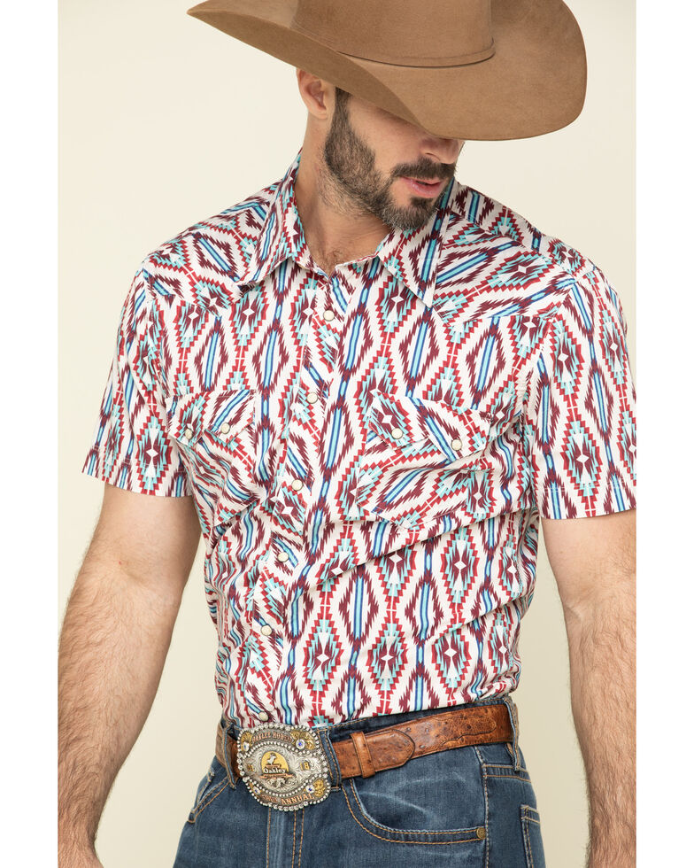 Rock & Roll Denim Men's Red Aztec Print Short Sleeve Western Shirt , Teal, hi-res