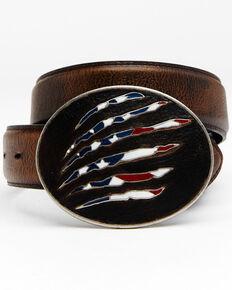 Cody James Men's American Flag Leather Belt, Brown, hi-res