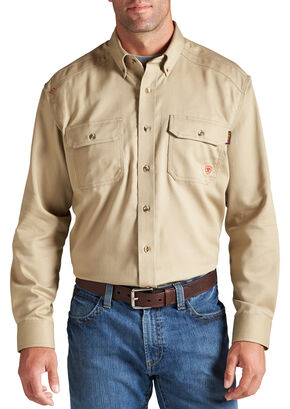 Ariat Flame Resistant Khaki Solid Twill Work Shirt, Khaki, hi-res