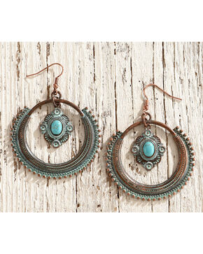 Shyanne Women's Sage Brush Statement Hoop Earrings, Turquoise, hi-res