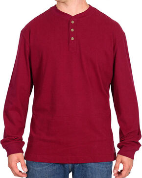 American Worker Men's Red Long Sleeve Henley, Burgundy, hi-res