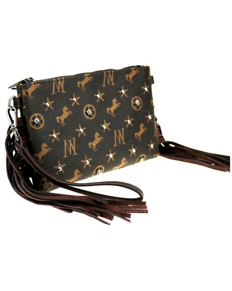 Montana West Women's Signature Monogram Collection Clutch Crossbody Bag , Coffee, hi-res