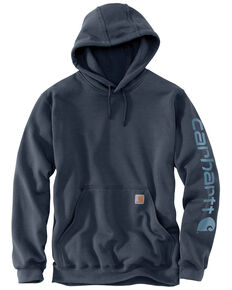 Carhartt Men's Mid Weight Hooded Logo Work Sweatshirt - Tall , Blue, hi-res