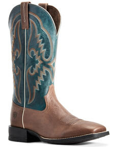 Ariat Men's Round Pen Saddle Western Boots - Wide Square Toe, Brown, hi-res
