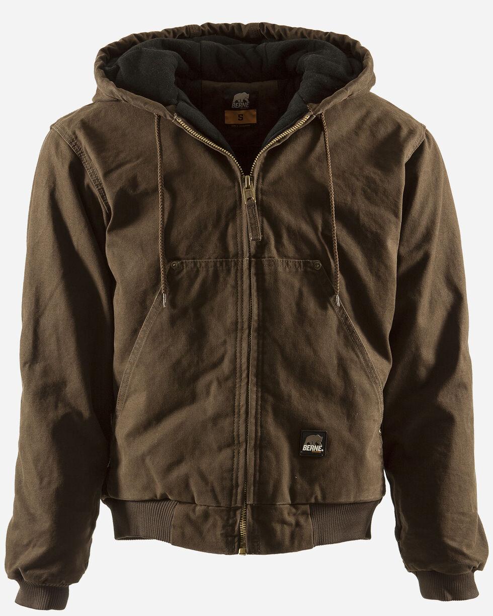 Berne Original Washed Hooded Jacket - Quilt Lined - 3XT & 4XT, Bark, hi-res