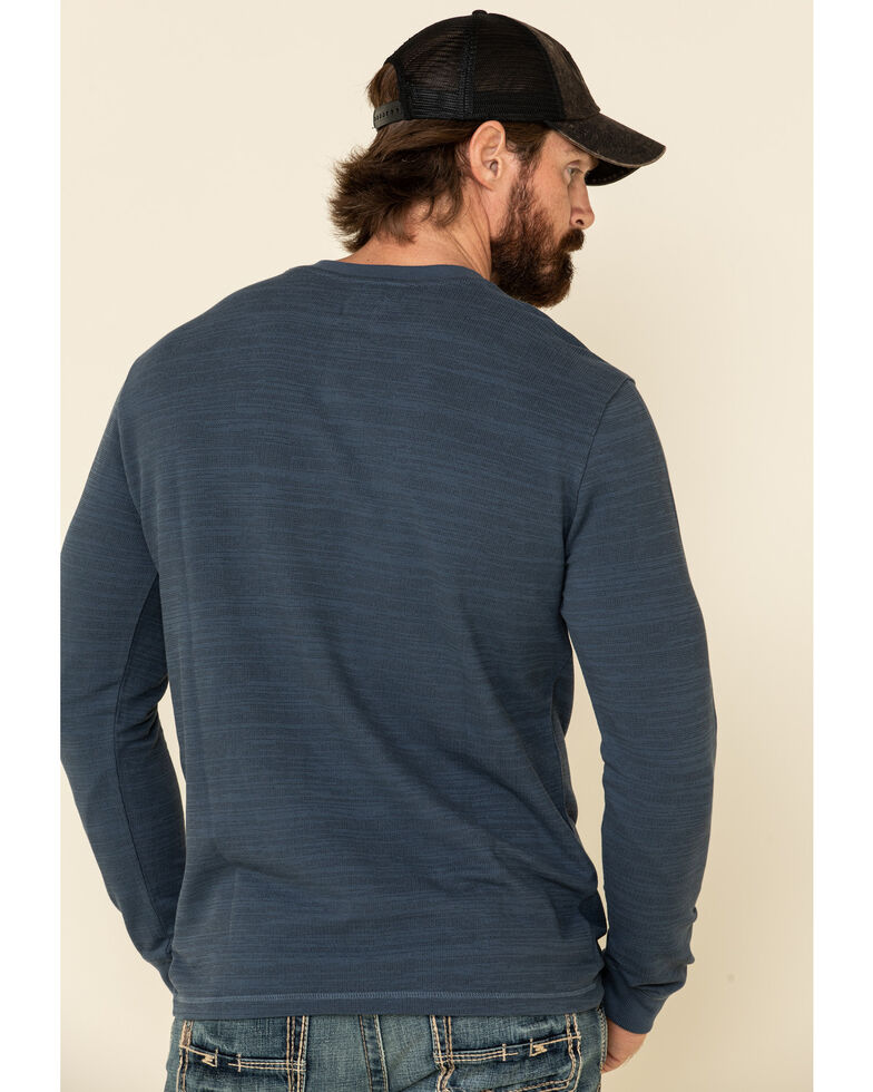 Moonshine Spirit Men's Blue Woodbourne Henley Button Long Sleeve Shirt , Blue, hi-res